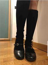 Gamuza/Cuero Negro Botas a la rodilla por Fratelli Rossetti! tamaño 6/39.5