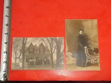JA412 Vintage LOT of 2 RPPCs Family Photo House Victorian Woman Wicker Chair