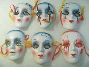 LOT OF 6 PORCELAIN FACE MASKS  4 INCH  with colorful ribbons and original box