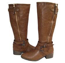 New Women's Knee High Riding Winter Boots Brown Snow Ladies Shoes size 6