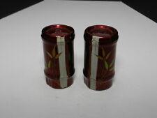 Japan Lacquerware Salt Pepper Shaker Set Bamboo Decoration Glossy Red 3 1/4