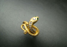 Spectacular and Timeless 14k gold Snake ring with genuine diamonds and emeralds