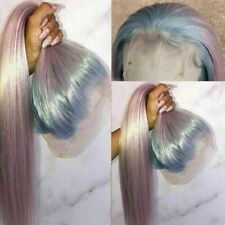 Luxury Lace Front Remy Ombre Light Blue Baby Pink Full Lace Human Hair Wig