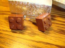"BROWN LEGO Design Cufflinks Pair (Two) 5/8"" x 5/8""  Hamilton Silver Plated $3.00"