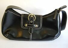 Black Handbag Purse Faux Leather Shoulder Bag Tote Pockets Buckle Snap Zipper