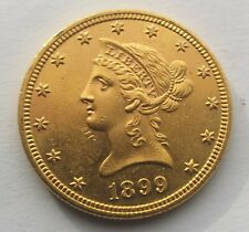 1899 Gold American $10 Liberty Head Eagle Coin.