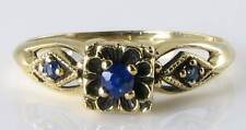 DAINTY ENGLISH 9K GOLD ART DECO INS BLUE SAPPHIRE  RING