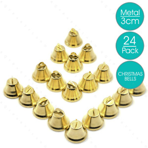 24 x Golden Metal Traditional Bells 3cm Christmas Jingle Bell Xmas Craft Project