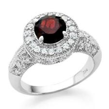 GARNET &  WHITE SAPPHIRE STERLING SILVER RING SIZE 7