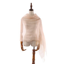 Silk and Viscose Organza Shawl Wrap Scarf Taupe with Silver Threads COT604