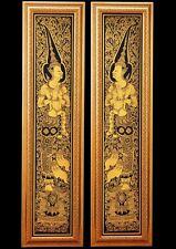 Home Decor Lacquer Black Gilted Thai Art 2 DVARAPALA Handmade God of door Guard
