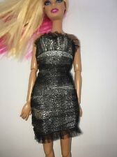 Barbie Little Black Dress Silver Sparkle Shimmer Tulle Halter Party Outfit Gown