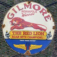 VINTAGE GILMORE RACING GASOLINE PORCELAIN SIGN RED LION OIL GAS PUMP PETROLIANA