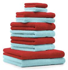 Betz Juego de 10 toallas PREMIUM 100% algodón de color rojo y turquesa