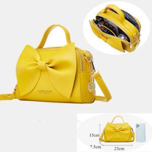 Cute Bow Women Leather Shoulder Bag Phone Card Comestic Handbag Crossbody Purse