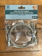 6 Foot Silver Small to Medium Dog Tie out Cable With Swivels BNEW