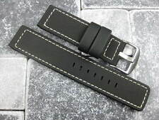 22mm Black PVC Rubber Diver Strap Watch Band Portuguese Maratac White Long XL