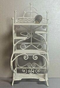 Vintage White Wire Victorian Etagere Shelving Dollhouse Miniature 1:12 Wicker