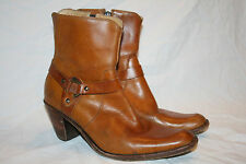 """Vtg  Frye Philip Harness Cognac Leather Ankle Boots Size 8.5 B 9"""" Tall"""