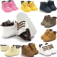 Toddler Newborn Baby Boy Girl Leather Soft Sole Crib Shoes Sneakers Prewalker UK