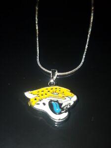 Jacksonville Jaguars Logo Necklace Pendant Sterling Silver Chain NFL Football