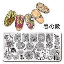 Nail Art Stamp Plate Line Flower Design Manicure Stencil Harunouta L034