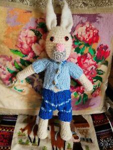 Fashionable Boy bunny rabbit. Amigurumi. Crochet staffed toy with removable clot