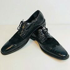 Stacy Adams Mens Shoes 10M Genuine Black Printed Cow Leather Dress Lace Tie Up