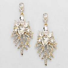 """LUSH Gold Clear Crystal BIG 3"""" LONG Floral Cocktail Earrings By Rocks Boutique"""