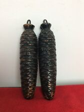 A pair of German Black Forest 8 day Cone Shaped Cuckoo Clock Weights