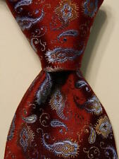B. OYAMA Men's 100% Silk Necktie ITALY Luxury PAISLEY Burgundy/Blue/Tan NWT $80