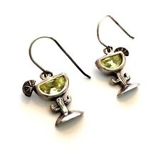 Silpada Lime Green Margarita Cactus Cocktail Earrings CZ Sterling Silver - W1003