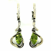 Unheated Marquise Green Peridot 12x6mm Cz 925 Sterling Silver Earrings