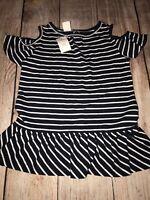 Baby Gap 2T Girls Cold Shoulder Navy Striped Peplum Top Shirt NEW