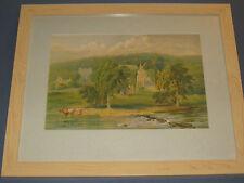 Bolton Abbey, Cromo Litho, 1800s Rare Art, R Rogerson, Leeds