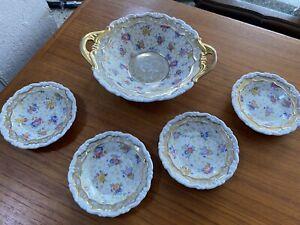 5x Porzellan Schale SORAU CARSTENS Porzellan. Blumendekor Gold Verzierung Teller