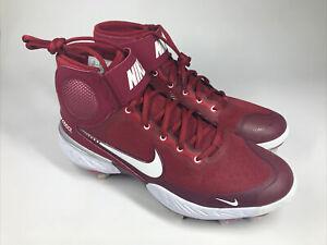Maroon White Nike Alpha Huarache Elite 3 Mid Baseball Cleats CK0745 Size 10 New