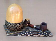 Ancienne TABATIÈRE boite à tabac REPOSE PIPE en BOIS forme GLAND snuffbox