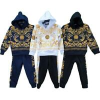 Boys Kids Tracksuit Baroque Print Hooded Top Kids Bottoms Pants 2pcs Set Outfit