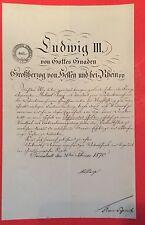 Bestallungsurkunde LUDWIG III. VON HESSEN, Großherzog Hessen-Darmstadt, 1870