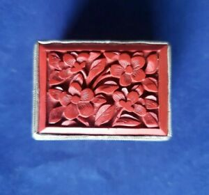 Beautiful Vintage Chinese Cinnabar RED & Silver Hand Carved Pill Box Flowers