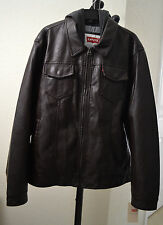 Levi's Faux-Leather Trucker Men's Jacket /Coat With Attached Hood Brown XL NWT