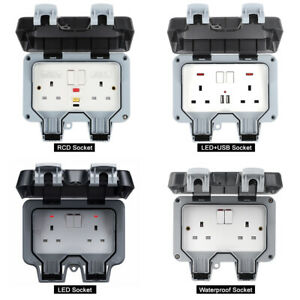 RCD/LED Outdoor Double Waterproof Switched Power Socket Wall Electrical Outlets