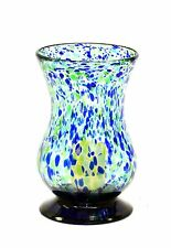 "Handmade Mexican Recycled Glass Hurricane Lamp,Forrest-Green/Blue Color-11.25""H"
