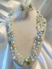 Vintage Triple-Strand Gold PASTEL Lucite & Faux Pearl Necklace & Earrings 15JS36