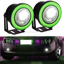 "2 Pcs 2.5"" Green COB LED Halo Angel Eye Rings Autos Fog Lights DRL Daytime Lamps"