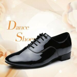 Hommes Bal Danse Chaussures Latin Waltz Tango Cuir Chaussures Talon Doux Bas