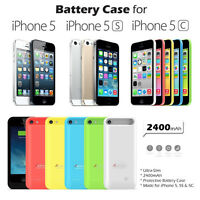 Portable Backup Battery Charging Case for iPhone 5 5S and 5C 2400mAh Apple MFi