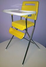 COSCO VINTAGE HIGH CHAIR MOD YELLOW MOLDED PLASTIC FOLDING CHROME LEGS