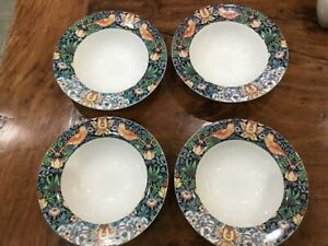 SPODE MORRIS & Co STRAWBERRY THEIF 19cm CEREAL BOWLS SET X 4 NEW UNUSED BIRDS